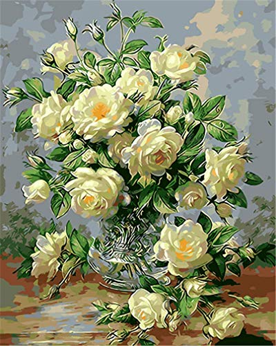 YEESAM ART DIY Paint Numbers Adults Beginner Kids, White Camellia Flowers Glass Vase 16x20 inch Linen Canvas Acrylic Stress Less Number Painting Gifts (White, Without Frame) ()