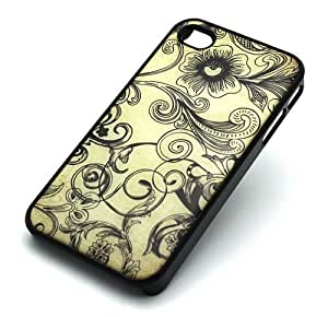 BLACK Snap On Case iPhone 6 4.7 Plastic Cover - STENCIL FLORAL flower vintage wave cute pencil art artsy rose