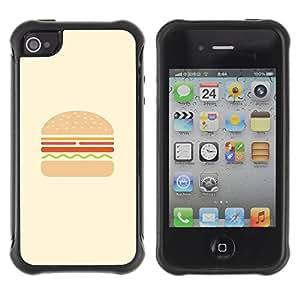 Híbridos estuche rígido plástico de protección con soporte para el Apple iPhone 4 / 4S - burger hamburger fast food minimalist