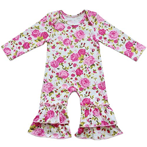 (Baby Girls Icing Ruffle Jumpsuit Leggings Cotton Long Sleeve Floral Ruffles Christmas Romper for Kids Pajamas Birthday Outfit Hot Pink Floral Peony 0-3 Months)