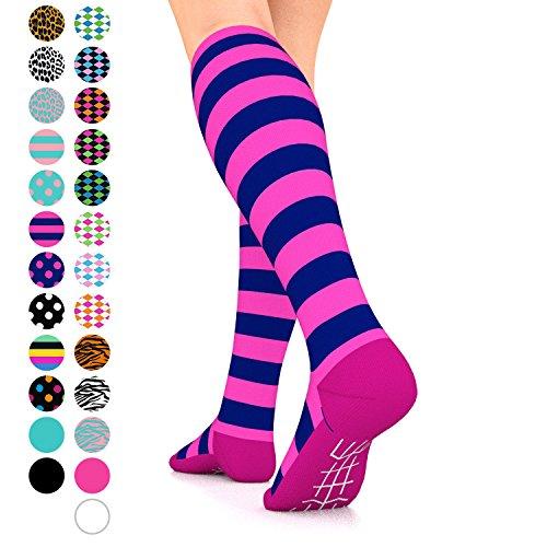 Go2 Fashion Compression Socks for Men & Women 15-20 mmHg Athletic Running Socks for Nurses Travel Medical Graduated Nursing Compression Stocking Sport Sock (Blue Pink Stripe, Large) Blended Stripe