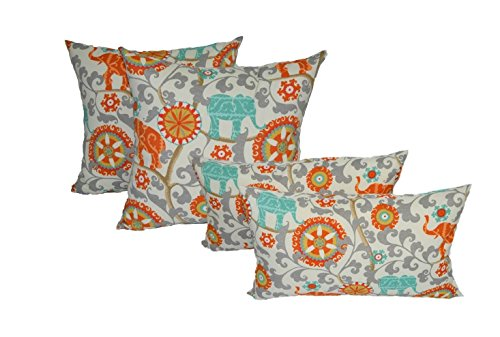 Set Of 4 Indoor Outdoor Pillows 17 Square Throw Pillows