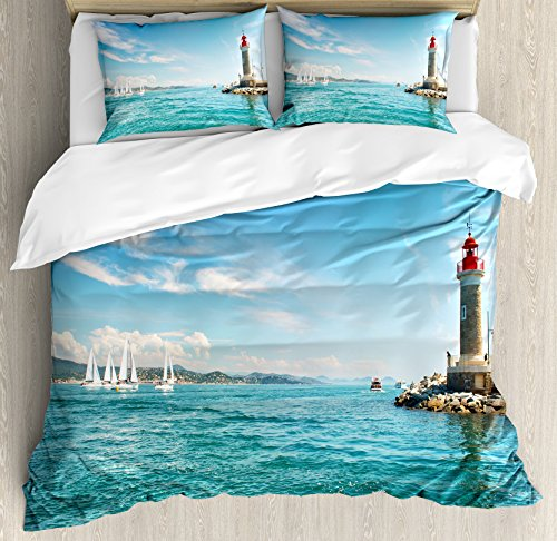 Lighthouse Duvet Cover Set Queen Size by Ambesonne, Day by the Seaside Sailboats Lighthouse Rocks Clear Sea Clouds Island Seascape, Decorative 3 Piece Bedding Set with 2 Pillow Shams, Multicolor (Seascape Lighthouse)