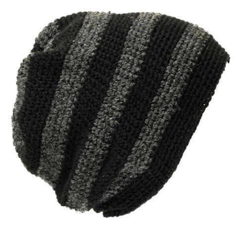 POM London Crochet Baggy Beanie Sombrero: Negro/carbón Gris Estilo 2