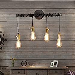 Jiuzhuo Industrial Edison 4 Hanging Bulb Light Vintage Wall Sconce Lighting
