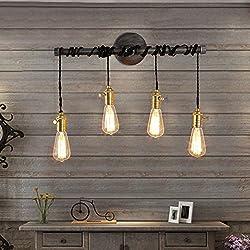 Jiuzhuo Industrial Edison 4 Hanging Bulb Light Vintage Wall Sconce Lighting