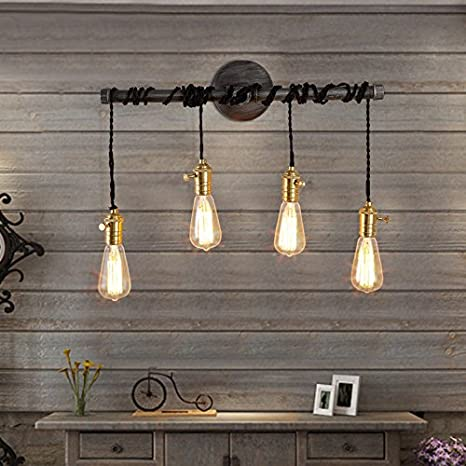 Jiuzhuo Industrial Edison 4 Hanging Bulb Light Vintage Wall Sconce ...