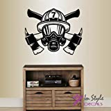 Wall Vinyl Decal Home Decor Art Sticker Firefighter Firefighting Rescue Helmet Mask Fireman Nursery Bedroom Room Removable Stylish Mural Unique Design 2298
