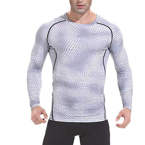 QBQCBB Men's Long Sleeved Serpentine Shirt Printing Fitness Breathable Fast Dry Tops(White,XL)