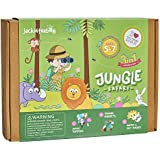 jackinthebox Jungle Themed Art Craft Kit Kids | 3 Crafts-in-1 | Great Gift Boys Girls Ages 5-7 | Includes Felt Foam Activities | Learning Stem Toy (3-in-1)
