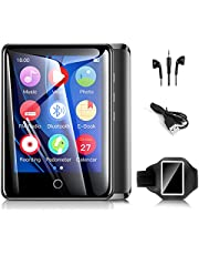 """Mp3 Players with Armband, 32GB Mp3 Music Players with Bluetooth, 2.8"""" Full TouchScreen Portable Mp4 Mp3 Player with Speaker/ FM Radio/Recorder/E-book/Pedometer/Timer/Video Players/Alarm Clock, Supports up to 128GB(Black)"""