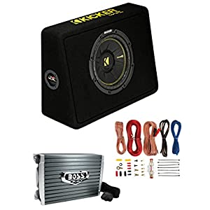 "Kicker 44TCWC102 10"" 600W Subwoofer Box+Boss AR1500M 1500W Mono Amp +Amp Kit"