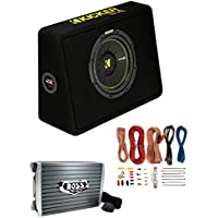 Kicker 44TCWC102 10 600W Subwoofer Box+Boss AR1500M 1500W Mono Amp +Amp Kit