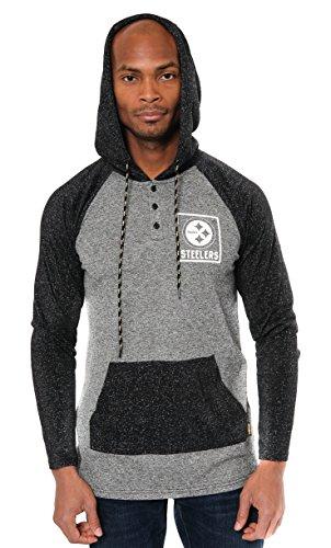 ICER Brands NFL Pittsburgh Steelers Mens Fleece Hoodie Pullover Sweatshirt Henley, Medium, Black