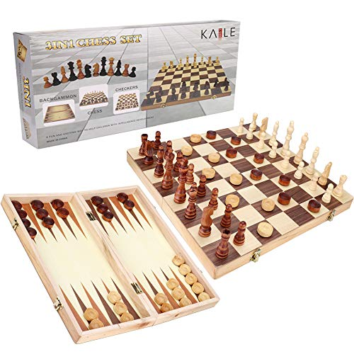 Set & Checkers & Backgammon Set with Folding Carrying Case Folding and Travel Chess Board for Adults and Kids 13 inch ()