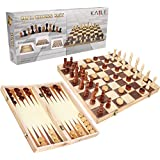 3-in-1 Wooden Chess Set & Checkers & Backgammon Set Folding Carrying Case Folding Travel Chess Board Adults Kids 13 inch