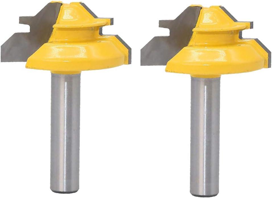 HomeDecTime 2 St/ücke 45 /° 8mm Schaft 1 3//8Dia Lock Gehrungsfr/äser Bits F/ür