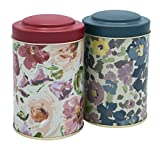 Floral Loose Tea Tins Double Cover Tea Canister set of 2. Airtight lid, Metal, Tin canisters set, Tea Container, Storage tins.