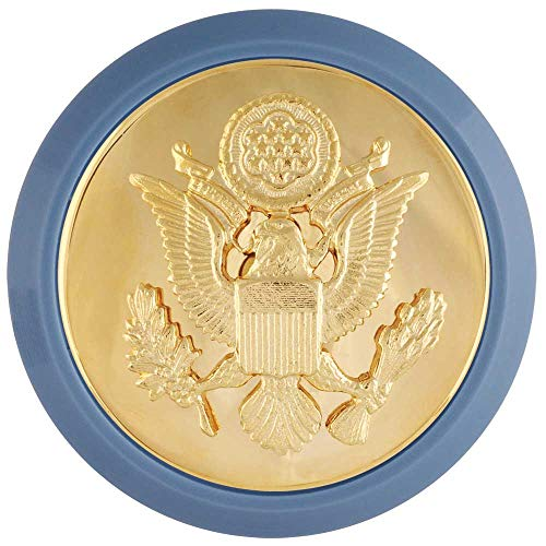 Enlisted Badge - Medals of America Army Enlisted Cap Badge with Blue Disk Male Gold One Size