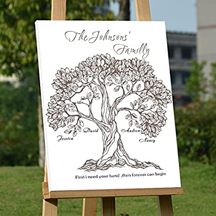 Amazon.com: Personalized Anniversary Tree Guest Book Wedding Party ...