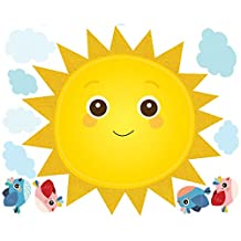 Wallies Peel & Stick Vinyl Wall Decals, Baby Sunshine Wall Stickers, Includes 1 Sun, 16 Clouds, And 4 Bird Decals