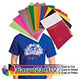 Easy 123 HTV, Easy Heat Transfer Vinyl, Iron on, Chemica FirstMark 12-Color Starter BUNDLE, Easy to Cut, Easy to Weed, Easy to Press. Bonus Glitter Bling Bling, Bonus 2 Sheets of Parchment Paper