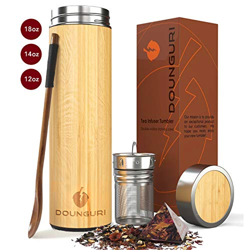 DOUNGURI Bamboo Tea Tumbler Mug with Strainer Infuser - 14 oz. Vacuum Insulated Stainless Steel Thermos with Filter for Loose Leaf/Coffee Travel Bottle/Hot and Cold Water/Leak Proof/Gift Ready