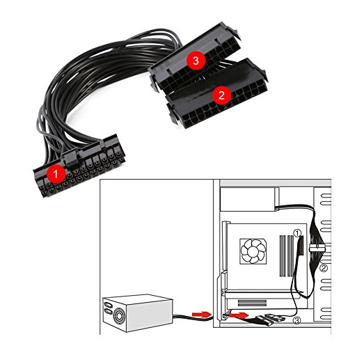 Dual PSU Power Supply 24pin ATX Motherboard Mainboard Adapter Connect Cable