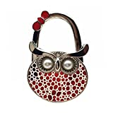 Owl Foldable Handbag Purse Holder With Pearl Eyes (Red)