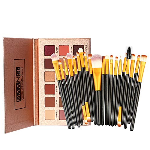 - FeiFei66 18 Color Waterproof Shimmer Glitter Eye Shadow Powder Matt Eyeshadow 20Pcs Professional Soft Makeup Brush Set (Black)