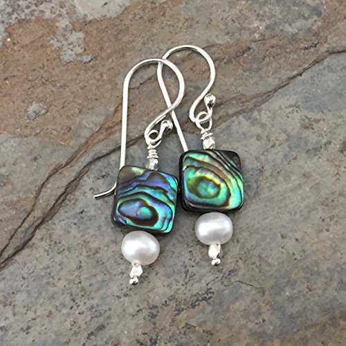 - Abalone and Pearl Earrings, 1.5 inch