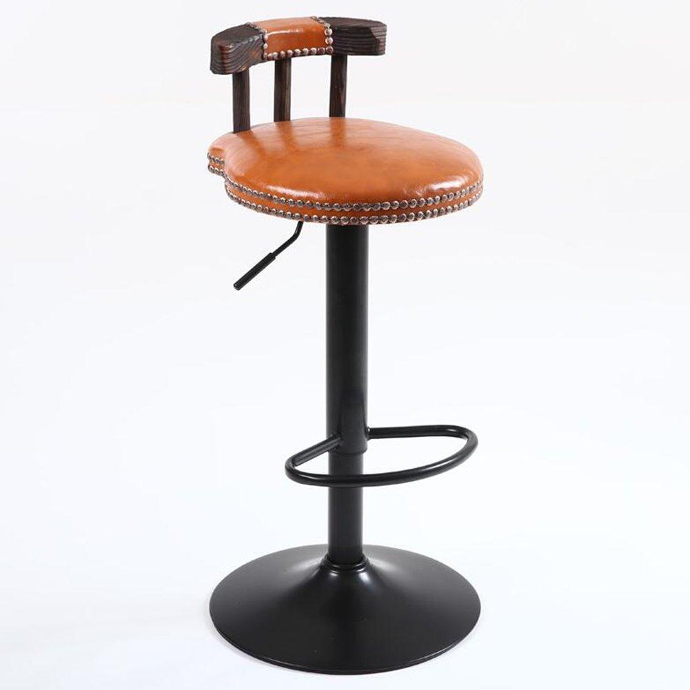 ダイニングチェア チェア Chair ッション リベットソリッドウッドバック高さ調節可能360°回転塗装シャーシフットレストヴィンテージ産業風 TINGTING (色 : Orange) B07F8P7NGJ Orange Orange