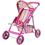 iPlay, iLearn Pink Doll Stroller, Foldable Doll Pram With Hood, Lightweight Baby Strollers for Dolls With Basket And Canopy, Role Play Toys for 2, 3, 4, 5, 6 Years Old Girls, Boys, Kids, Toddlers