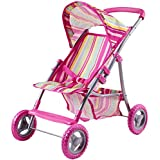 iPlay, iLearn Deals Pink Doll Stroller, Foldable Doll Pram With Hood, Lightweight Baby Strollers for Doll With Basket And Canopy, Role Play Toys for 2, 3, 4, 5, 6 Years Old Girls, Boys, Kids, Toddlers