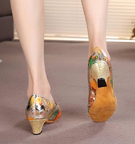 Tda Donna Classica Peep Toe Slip On Glitter Floreale Sintetico Sala Da Ballo Moderna Scarpe Da Ballo Latino Ballo Oro
