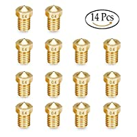14 Pcs M6 3D Printer Nozzle 0.4mm Extruder Brass Nozzle Print Head from Kulannder
