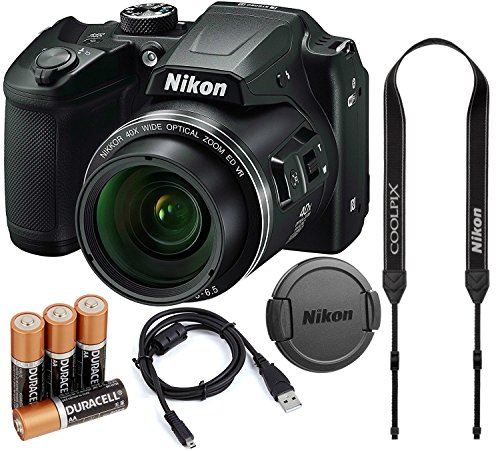 Nikon COOLPIX B500 16MP 40x Optical Zoom Digital Camera Bundle w/ Batteries, Cap, Cables and More (Black)