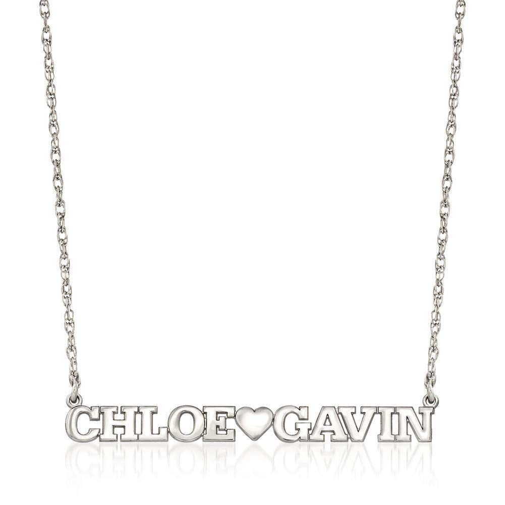 Elefezar Personalized 925 Sterling Silver 2 Name Heart Necklace Custom Any Names