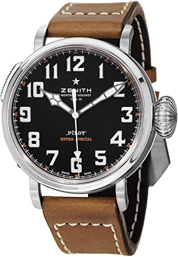 Zenith Pilot 20 Extra Special Black Dial Brown Leather Mens Watch 032430300021C738