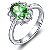 YL Women's 925 Sterling Silver 6x8mm Oval Created Emerald Princess Promise Ring for Engagement-Size5