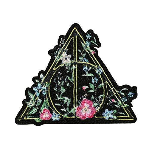 Harry Potter Deathly Hollows Symbol Patch Floral Embroidered Iron On Applique]()