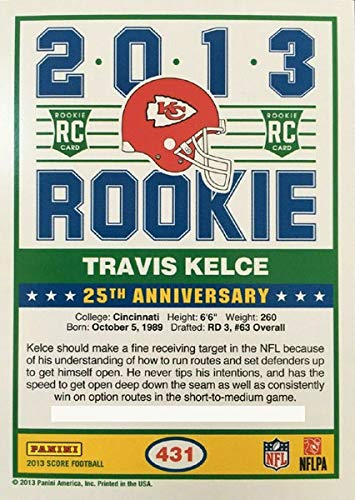 Travis Kelce 2013 Score Mint ROOKIE Card #431 Shipped in a Protective Screw Down Holder