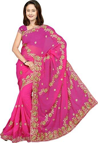 Magenta Women/'s Wedding Sequin Embroidered Saree Sari fabric - Karina,Magenta,Free Size