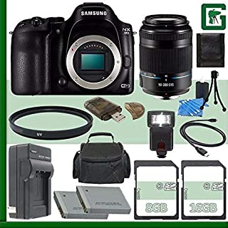 Samsung NX30 Mirrorless Digital Camera Body Only + Samsung 50-200mm f/4.0-5.6 ED OIS II Lens (Black) + 8GB + 16GB Green's Camera Bundle 6