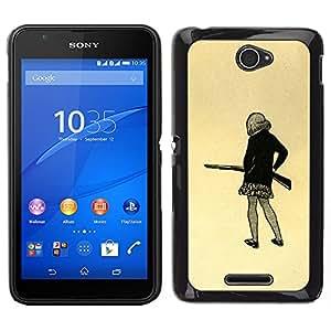 """For Sony Xperia E4 Case , Chica pistola Art Dibujo mini falda lápiz Shoot"""" - Diseño Patrón Teléfono Caso Cubierta Case Bumper Duro Protección Case Cover Funda"""