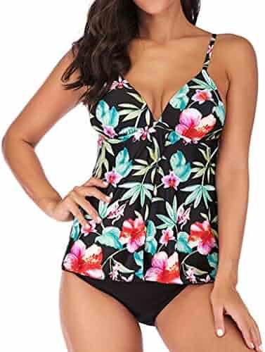 2c34dd5365 Luweki Womens Swimwear Plus Size Two Piece Swimsuits for Women Tankini Set Bathing  Suit Tops Beachwear