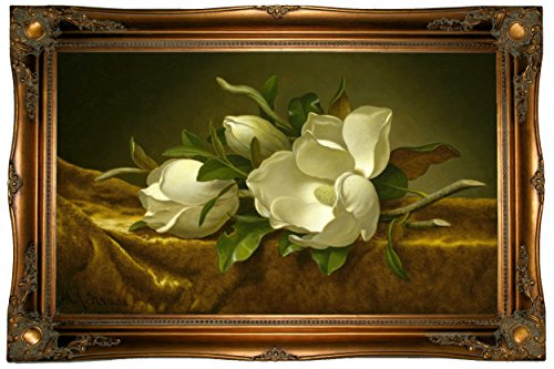 Martin Johnson Heade Magnolia (Historic Art Gallery Magnolias on Gold Velvet Cloth by Martin Johnson Heade Framed Canvas Print - Ornate Gold Gallery - 19x32)