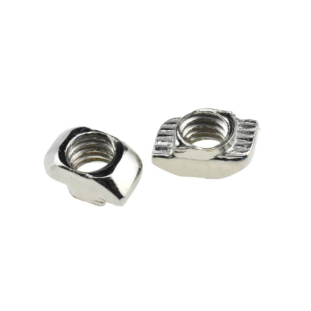 BINZZO Sliding T Slot Nuts 2020 Series M4 50 Pack T Nuts Carbon Steel Nickel Plated Half Round Roll in Sliding 6mm Slot Aluminum Profile Accessories for T Slot Aluminum Profile 20 x 20 Series