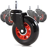 """RevoSmooth Premium Rollerblade Style Rubber Office Racing Chair Caster Replacement, Set of 5 (3"""", Black Fork / Red Rim / Black Wheel)"""