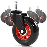 RevoSmooth Premium Rollerblade Style Rubber Office Racing Chair Caster Replacement, Set of 5 (3'', Black Fork / Red Rim / Black Wheel)